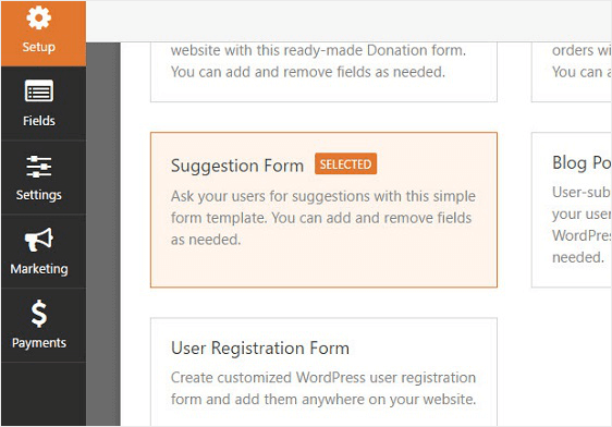suggestion form template option
