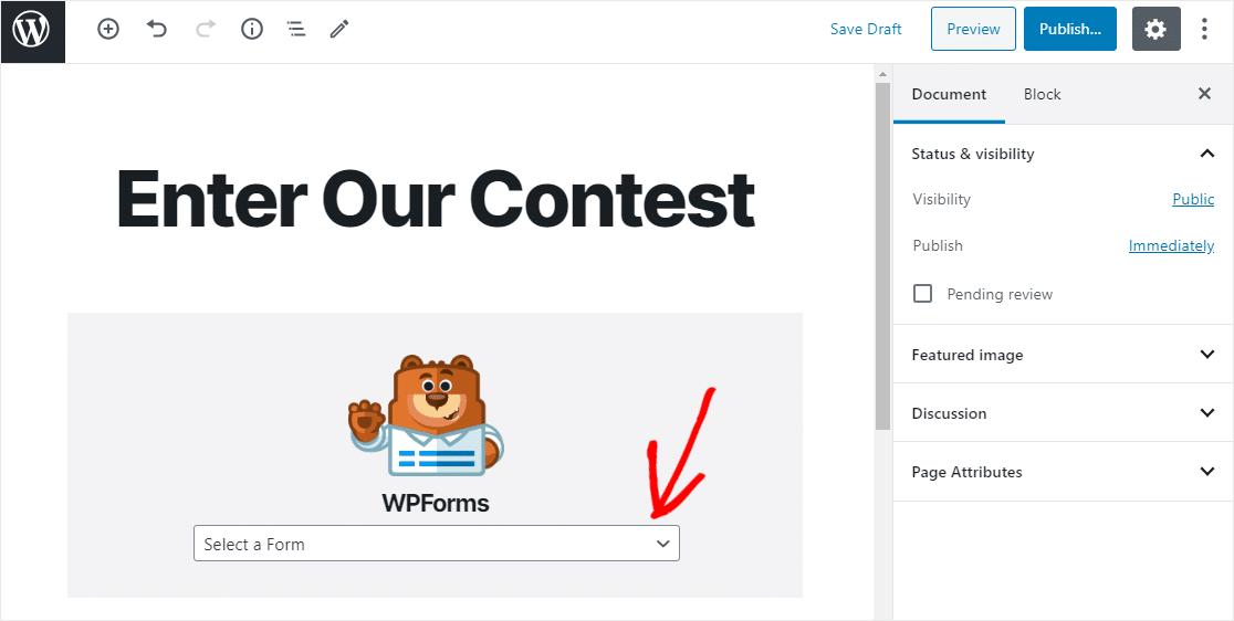 wordpress contest form publish