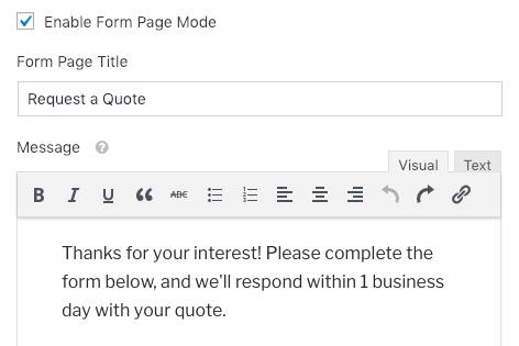 Form Page Title and Message settings for form page