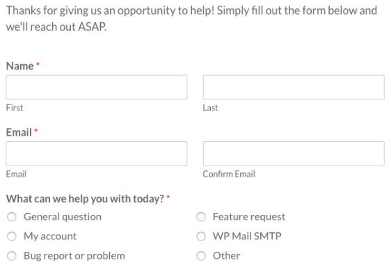 WPForms support form
