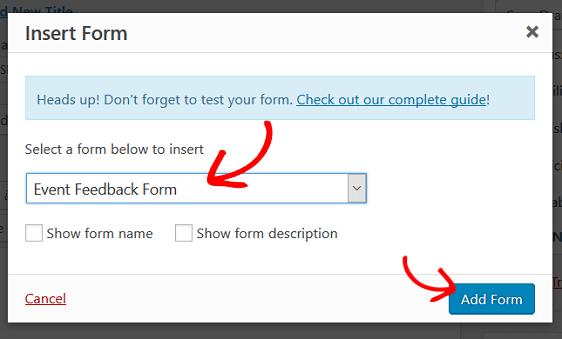 add event feedback form
