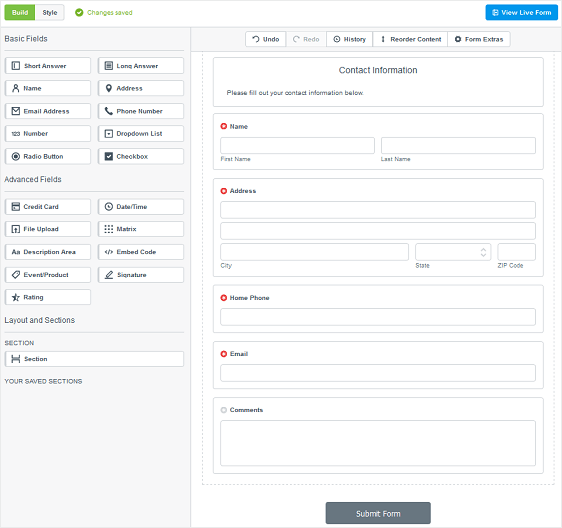 formstack interface