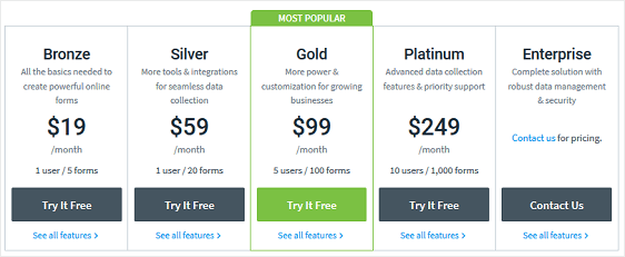 formstack paid plans