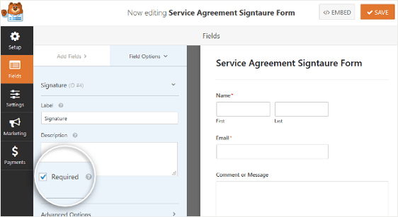 signature form field required setting for wordpress online contract