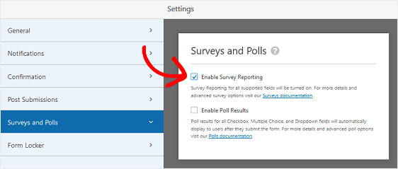 surveys and polls settings