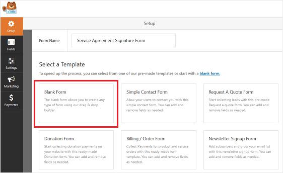 wpforms blank form template wordpress online contract