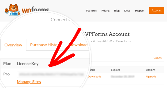 copy license key from WPForms account