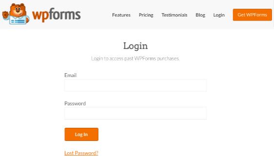 Log into WPForms account