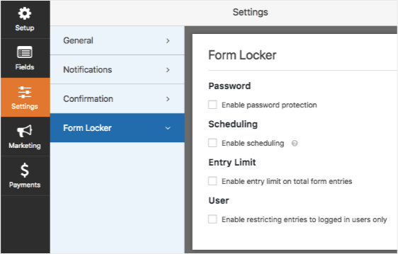 form locker settings