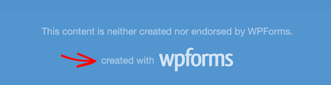 The WPForms branding that is added to form pages by default