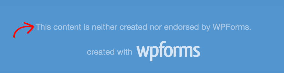 The default WPForms form page footer text