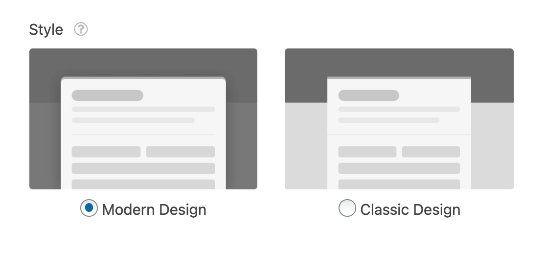 The form page style options (modern or classic)