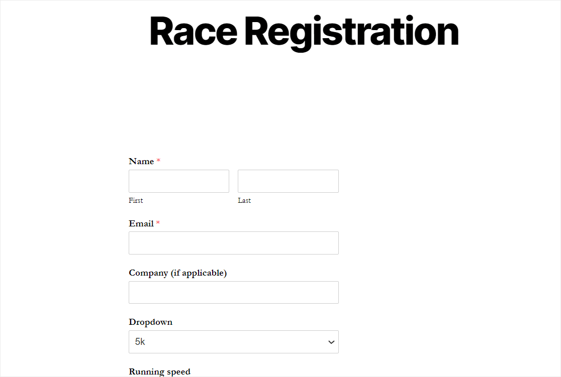 published wordpress race registration form with plugin
