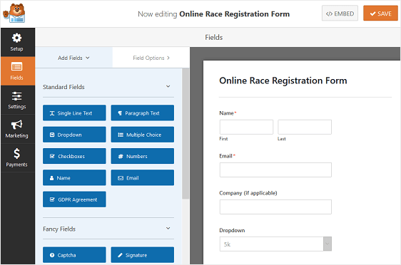 race registration form