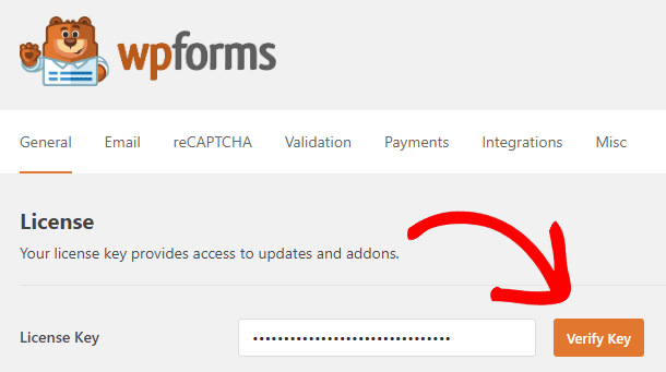 add license key and verify