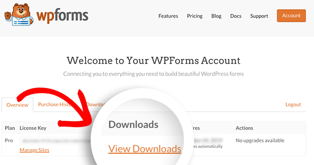 WPForms Account View Downloads