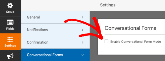 Check box to Enable Conversational Form Mode