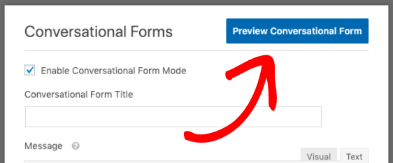 Click button to preview conversational form