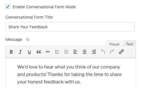 Conversational Forms title and message