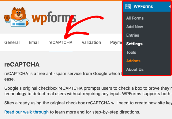 Open reCAPTCHA settings in WPForms
