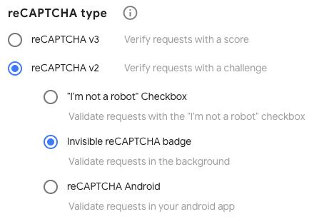 Select a reCAPTCHA type