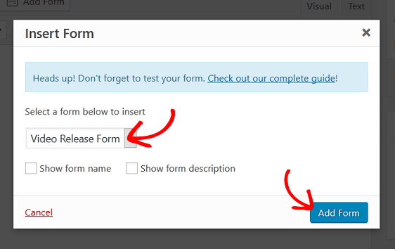 add video release form