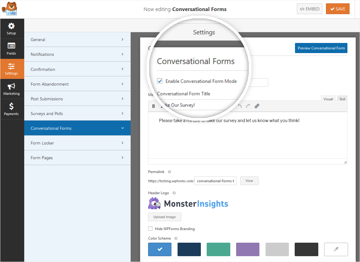 conversational forms enable mode