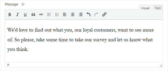 conversational forms message