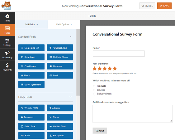 conversational survey form example