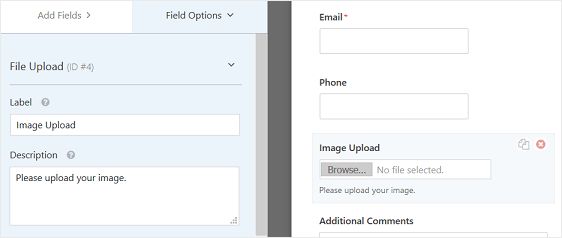 customize file upload form