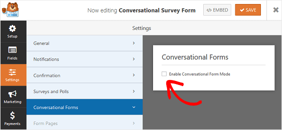 enable conversational forms