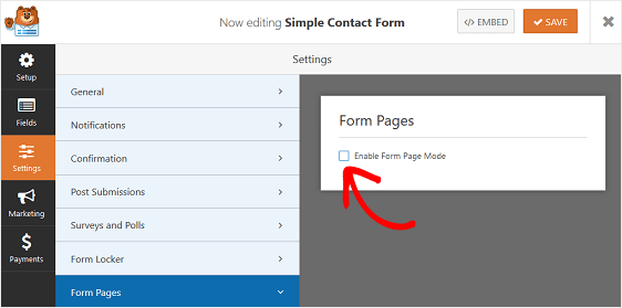enable form pages mode