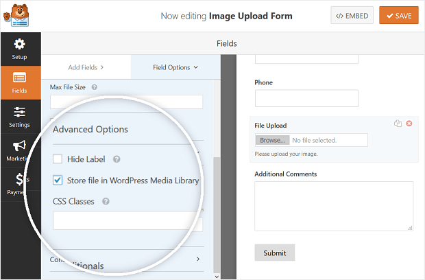 save images in wordpress media library