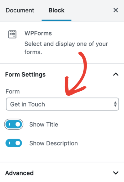 Adjust settings for WPForms block