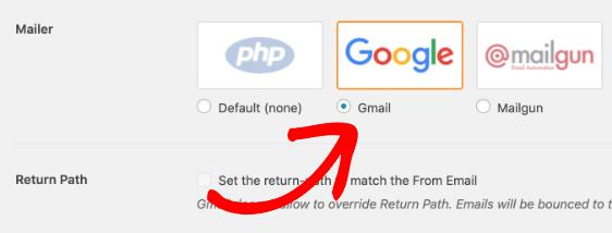 Chọn tùy chọn Google mailer trong WP Mail SMTP