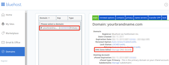 Bluehost domain management