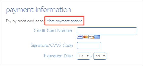 Bluehost payment options