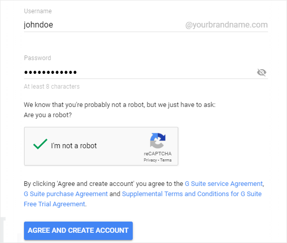 Create a G Suite admin account