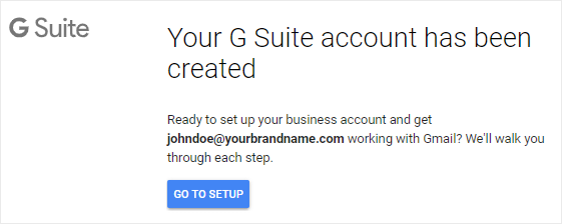 G Suite business account created