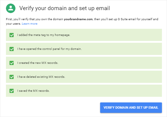 Verify domain and set up email