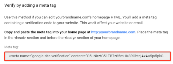 Verify Domain using Meta Tag
