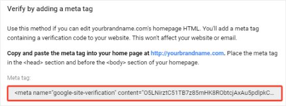 Verify Domain using Meta Tag