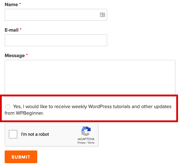 WPBeginner Contact Form Optin