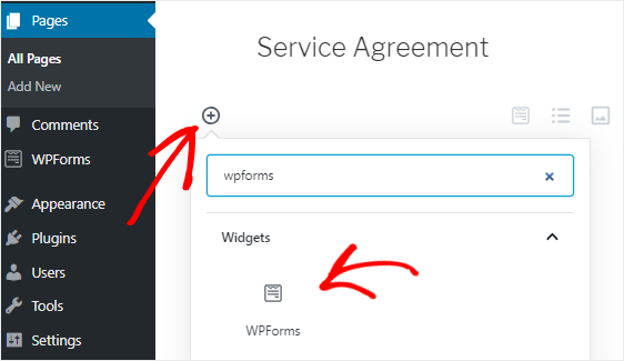 add WPForms block to page