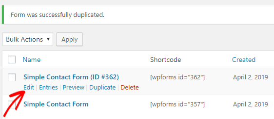 Duplicate Form Created