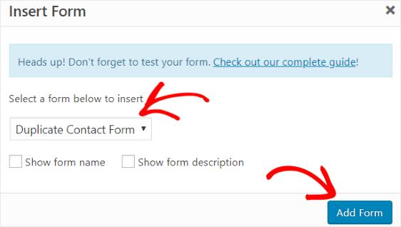Insert duplicate form classic editor