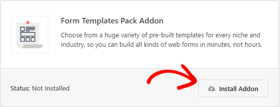 install Form Templates Pack addon