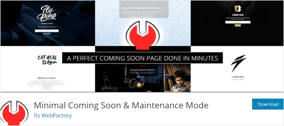 Minimal coming soon and maintenance mode plugin