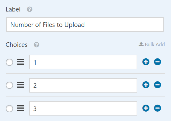 number of files to upload