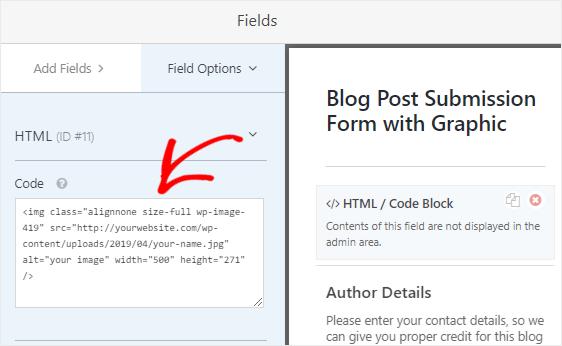 Paste code in HTML field